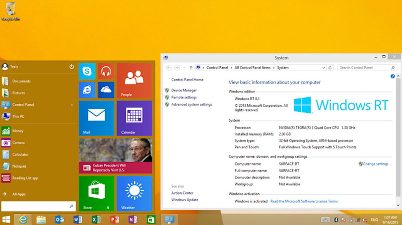 Microsoft brings the Windows 10 Start Menu to Surface RT