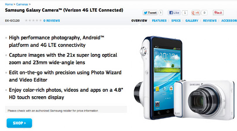 Samsung product page confirms Galaxy Camera coming to Verizon LTE