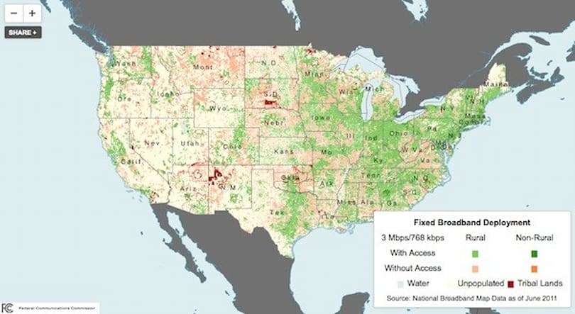 FCC releases interactive map for latest Broadband Progress Report