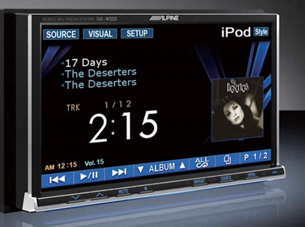 Alpine's head unit supports iPods, DivX playback and everything else