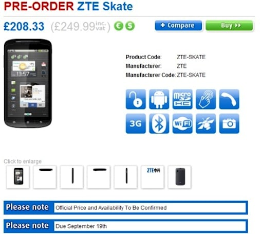 ZTE Skate coasting into UK retailers... in September