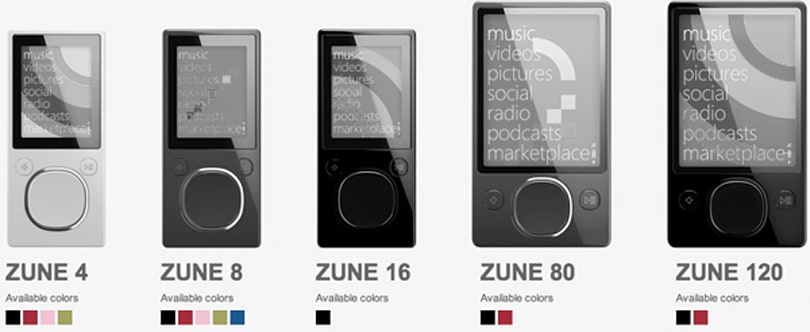 All Zune models not named 'Zune HD' on the outs