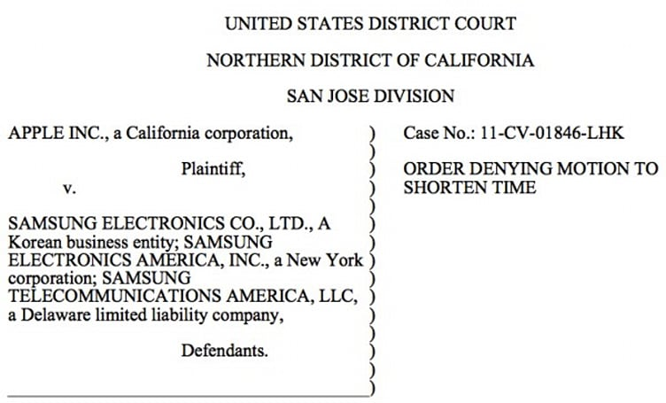 Judge denies Apple's request to speed up its suit against Samsung