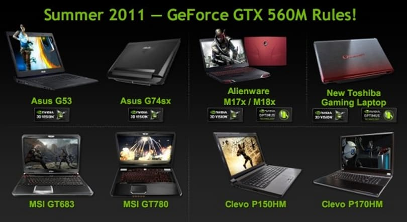 NVIDIA refreshes notebook graphics with GeForce GTX 560M, attracts ASUS, MSI, Toshiba and Alienware