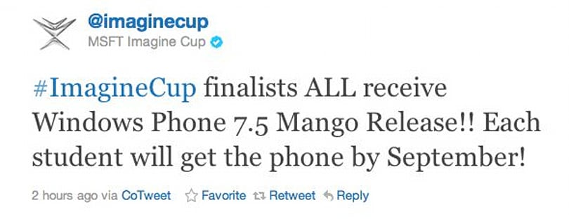 Microsoft promises Mango phones in September for Imagine Cup finalists