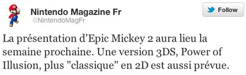 Rumor: Epic Mickey 2 coming to 3DS, along with 'classic' 2D game
