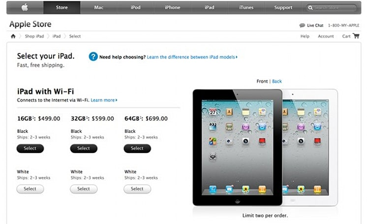 iPad 2 shipping in two to three weeks