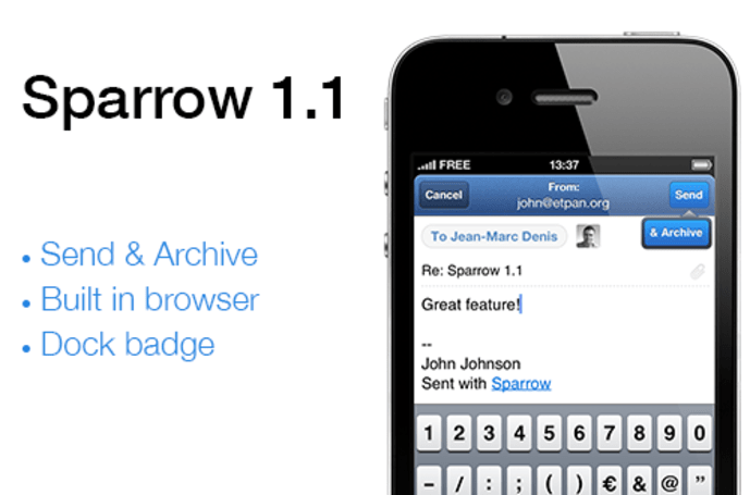 Sparrow mail app for iOS hits version 1.1, Push support to follow 'with or without Apple'