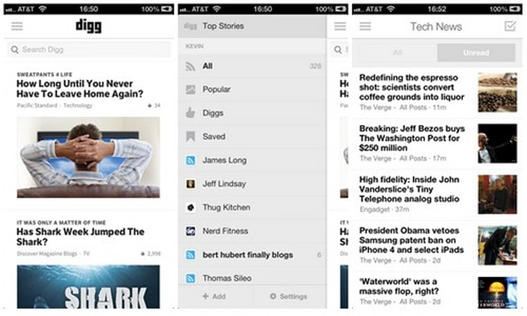 Digg for iOS gets unread mode, Reader mobile mirrors its app counterpart