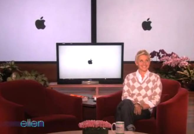 Ellen pokes fun at Apple... and then apologizes