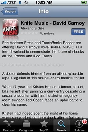 Knife Music e-book approved for App Store after language modification