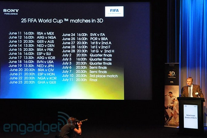 Sony and FIFA release more details on World Cup 2010 3D broadcast