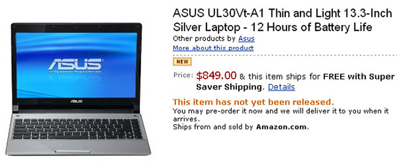 ASUS UL30Vt-A1 pops up on Amazon for pre-order: silver, 5600mAh battery, $849