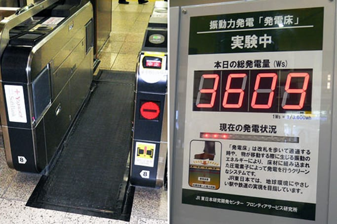 Piezoelectrics installed in Tokyo railway station floors generate power, wastes it