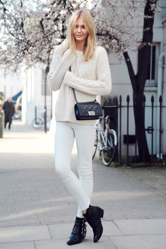 30 ways to wear white jeans in the winter