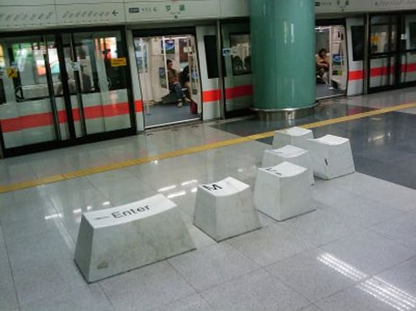 Giant keyboard art in Shenzhen metro station offers tech-friendly seating