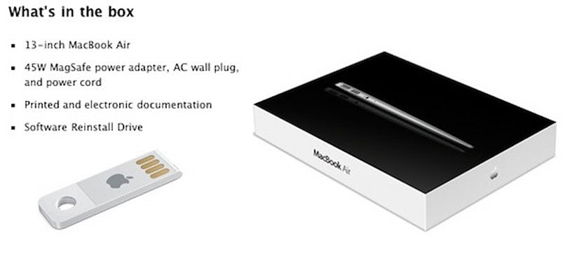 Software Reinstall USB drive comes with new MacBook Air