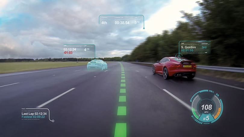 Jaguar Land Rover projects driving data directly on the windshield