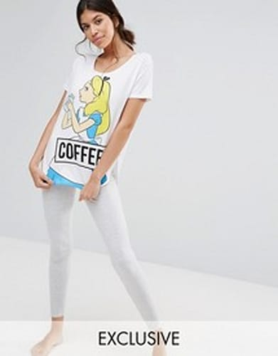 ASOS Disney Alice Coffee Long PJ Set