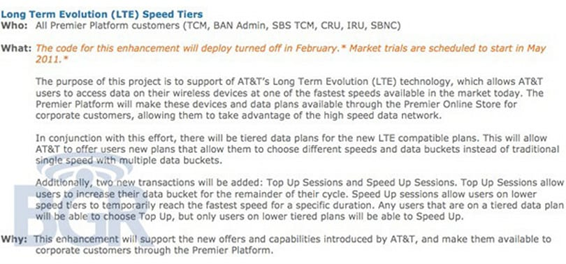 Mobile broadband shocker: AT&T looking at tiered data pricing and speeds for upcoming LTE service
