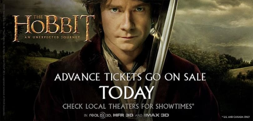 Advanced ticket sales for The Hobbit start, 450 theaters are ready for 48 fps 3D