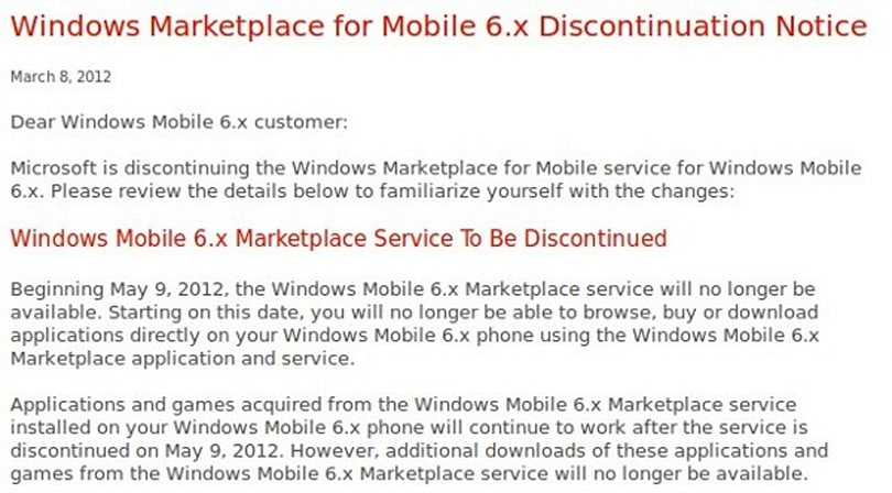 Microsoft putting Windows Mobile 6.x market out to pasture