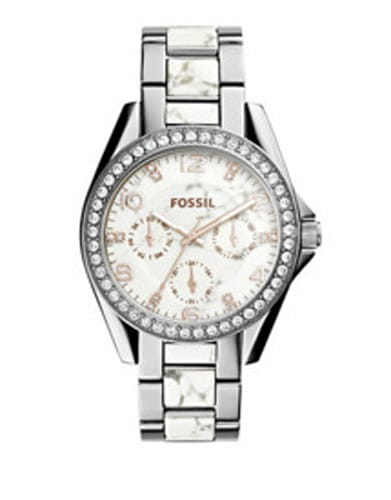 Fossil Riley Stainless Steel and Pave Watch, ES3973