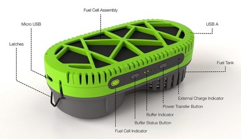 Powertrekk charges gadgets over USB, using one fuel cell and one Li-ion battery (video)