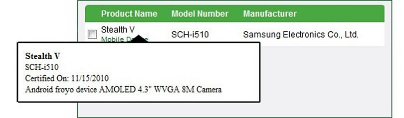 Samsung Stealth V outed with DLNA certification: 4.3-inch screen, Android 2.2?