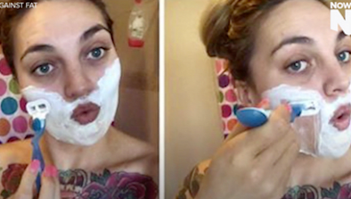 Woman Shaves Her Face On The Internet