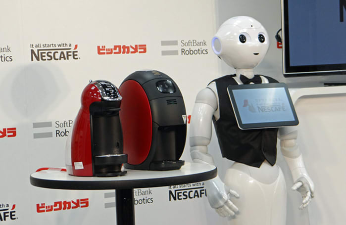 Pepper, the humanoid robot, wants to sell you a Nescafe coffee machine