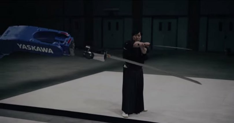 Robot and samurai face off in an awesome sword duel