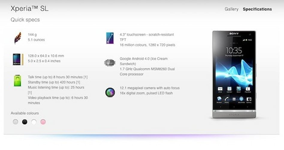 Xperia V Specifications Sony quietly outs Xperia SL