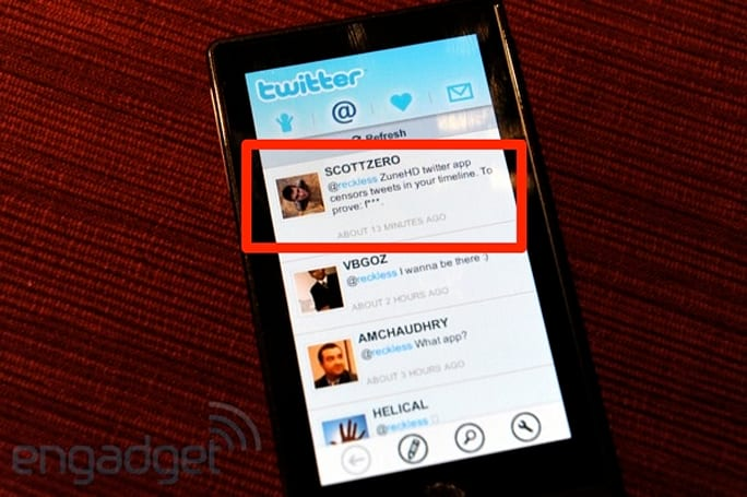 Microsoft updating Zune HD Twitter to stop censoring tweets