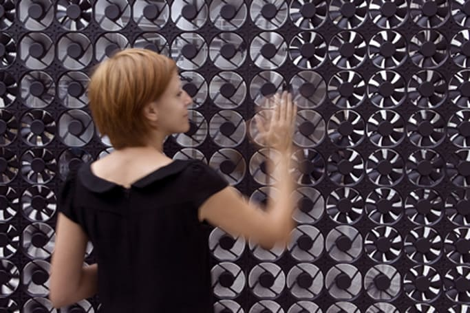 Art installation made up of hundreds of case fans is full of air