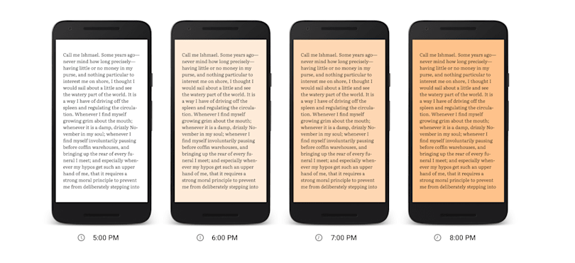 Google Play Books new blue light filter reduces eye strain