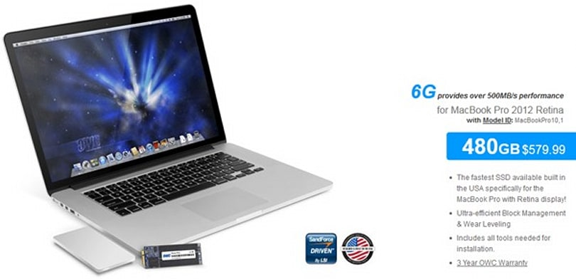 OWC offers 480GB SSD upgrade for Retina MacBook Pro, requires screwdriver and careful math