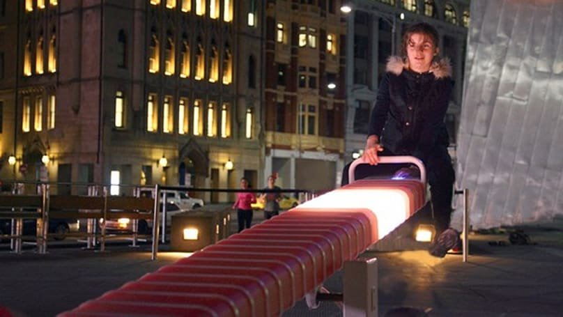 Light up seesaw makes Australia's Federation Square feel like a kid again (video)
