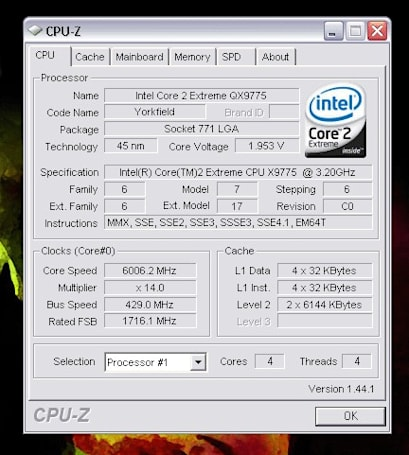 Intel's Skulltrail QX9775 hits 6GHz, manages not to spontaneously combust