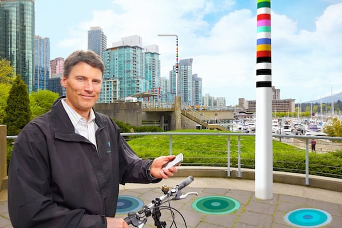 Douglas Coupland's V-Pole unifies wireless connectivity and EV charging in an LED streetlight
