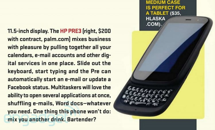 HP Touchpad and Pre 3 pricing revealed... by Playboy Magazine (update: just estimates)