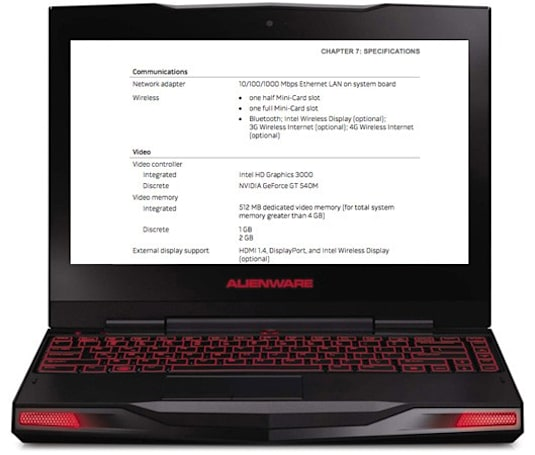 Manual for Alienware M11x with Sandy Bridge confirms NVIDIA GT540M graphics