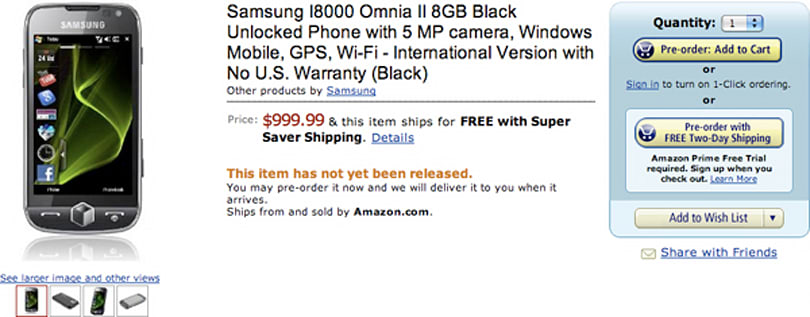 Samsung Omnia 2 pre-order page now live, tempting you with debt