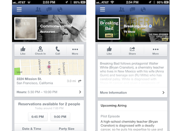 Facebook for iOS now integrated with OpenTable reservations and Rovi TV info