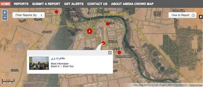 Sudanese protesters use crowdmapping to get around internet shutdowns
