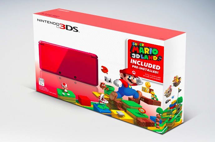 3DS holiday bundle includes red 3DS, pre-loaded Mario 3D Land