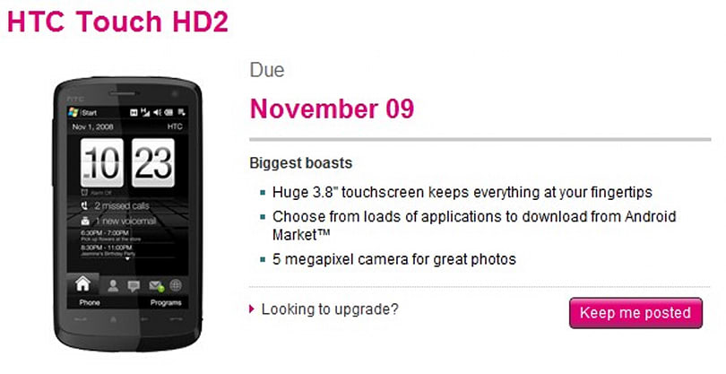 T-Mobile nabs HTC's Touch HD2, schedules release for November