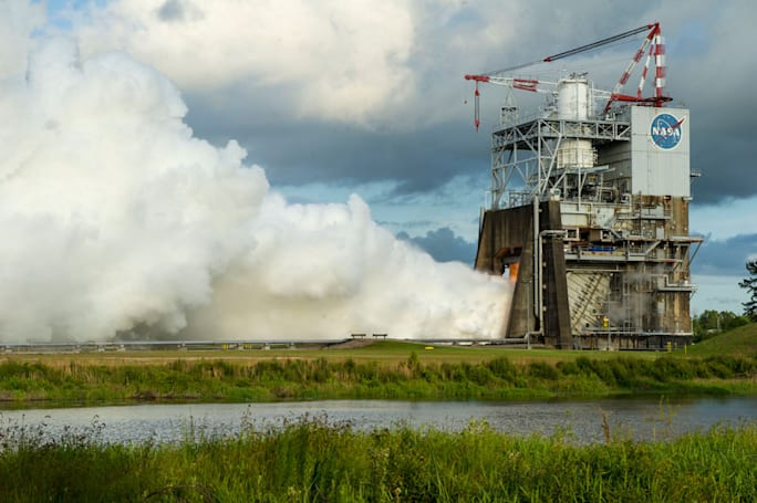 Watch NASA test its main deep space rocket in a cloud of steam