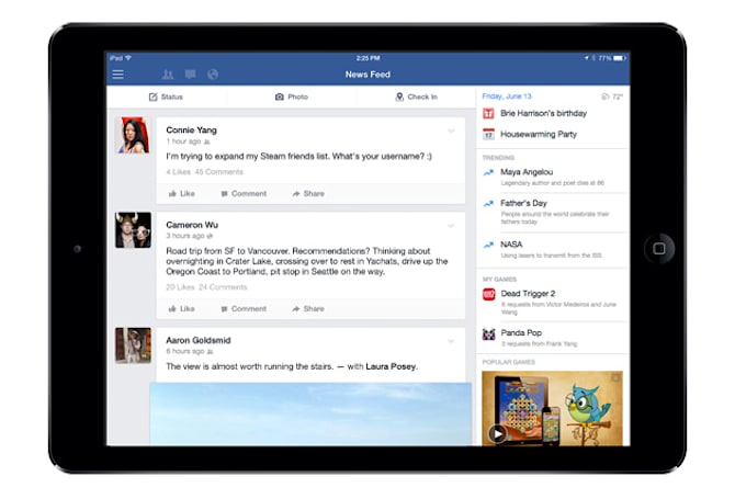 Facebook for iPad's new sidebar wants you to play more games