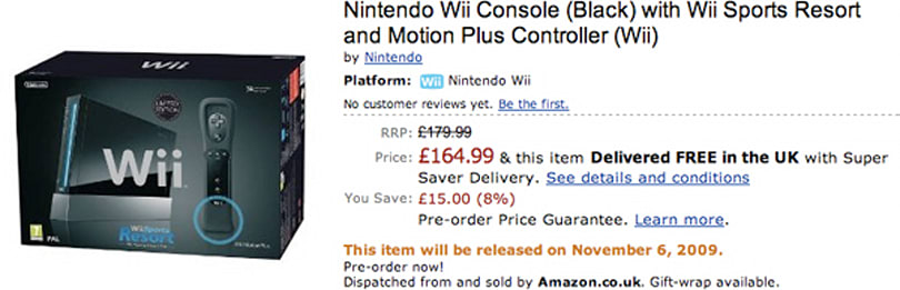 Black Nintendo Wii bundle listed on Amazon UK for £164.99